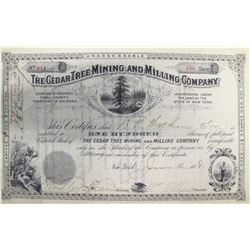 Cedar Tree Mining & Milling Co. Stock Certificate, Pioneer District