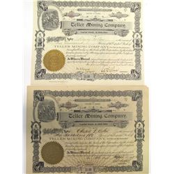 Teller Mining Co. Stock Certificate Pair, Sawtooth District