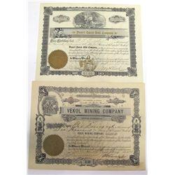 Two Casa Grande District Mining Stock Certificates