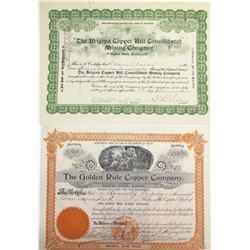 Two Oracle District, Pinal Co. Mining Stock Certificates