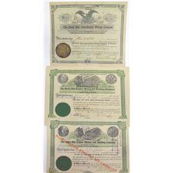Three Tyndall District, Santa Cruz Co, Arizona Mining Stock Certificates