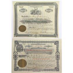 Two Different Harshaw District, Santa Cruz Co., Arizona Mining Stock Certificates