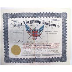 Santa Ana Mining Company Stock Certificate, Temple Bar