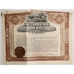 Tombstone Consolidated Mines Co. Stock signed by EB Gage