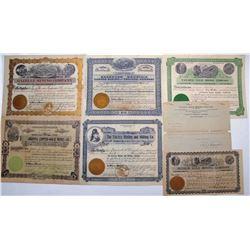 Six Different Yavapai County Mining Stock Certificates