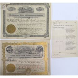 Two Groom Creek District, Yavapai Co., Mining Stock Certificates