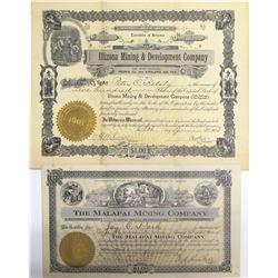 Two Different Kirkland District Mining Stock Certificates