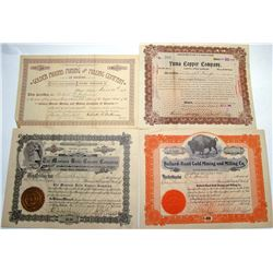 Four Different Ellsworth Mining District Stock Certificates