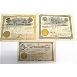 Three Different Arizona Mining Stock Certificates