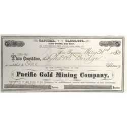 Pacific Gold Mining Co. Stock Certificate, Plymouth, Amador County