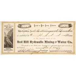 Red Hill Hydraulic Mining & Water Co. Stock Certificate
