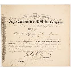Anglo-Californian Gold Mining Co. Stock Certificate, Gold Rush