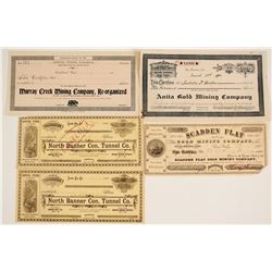 Grass Valley & Nevada City Mining Stock Certs. (5)