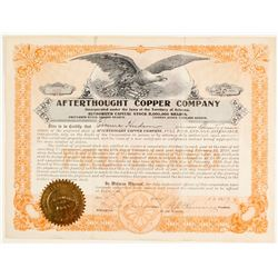 Afterthought Copper Co. Stock Certificate, Ingot, California
