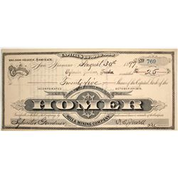 Homer Mill & Mining Stock Certificate