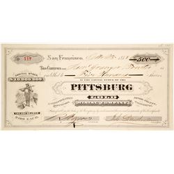 Pittsburg Gold Mining Company Stock Certificate
