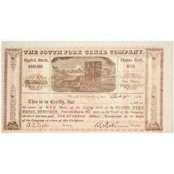 South Fork Canal Company Stock Certificate, California Gold Rush