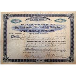 North Arkansas & Arizona Zinc, Lead, Copper, Silver & Gold Mining Co. Stock Certificate