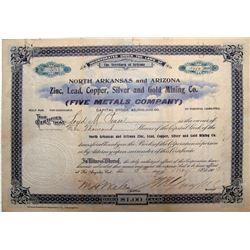 North Arkansas & Arizona Zinc, Lead, Copper, Silver & Gold Mining Co. Stock Certificate