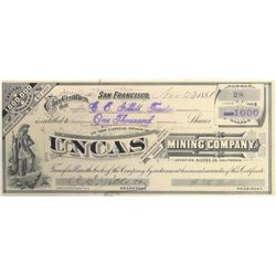 Uncas Mining Co. Stock Certificate