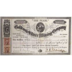 The Pearl Gold and Silver Mining Co. Stock Certificate