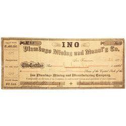 Ino Plumbago Mining & Manufacturing Co. Stock Certificate