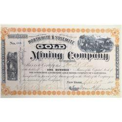 North Hite & Yosemite Gold Mining Co. Stock Certificate