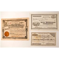 Three California Mining Stock Certificates