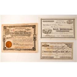 Three California Mining Stock Certificates