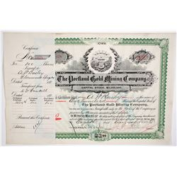 Portland Gold Mining Stock Certificate