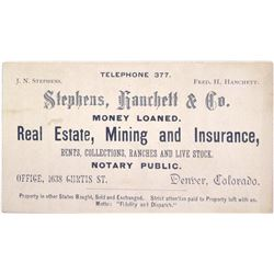 c.1890s Denver Business Card for Mining Agent