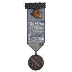 Delegate Ribbon for 1909 Miner's Convention in Denver