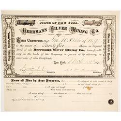 Herrmann Silver Mining Co. Stock Certificate, Georgetown