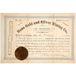 Mono Gold & Silver Mining Company of Colorado Stock Certificate