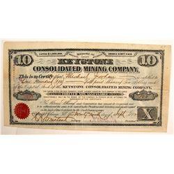 Keystone Consolidated Mining Company Stock Certificate