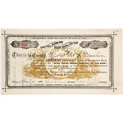 Inter Ocean Mining Company of San Juan Stock Certificate