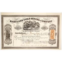 Maryland Gold Mining Company Stock Certificate