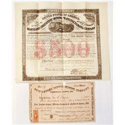 Maryland Mining Stock Certificate & Bond