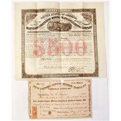 Maryland Mining Stock Certificate & Bond