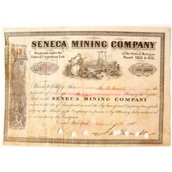 Seneca Mining Company Stock Certificate, 1880