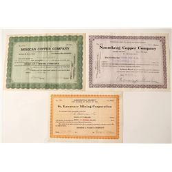 Three Different Michigan Copper Mining Stock Certificates