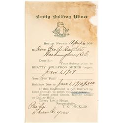 Beatty Bullfrog Miner Subscription Receipt