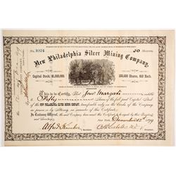 New Philadelphia Silver Mining Co. Stock Certificate, Belmont, NV, 1879