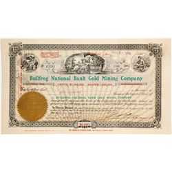 Bullfrog National Bank Gold Mining Co. Stock Certificate