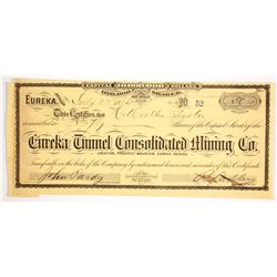 Eureka Tunnel Consolidated Mining Co. Stock Certificate signed by Governor Sadler