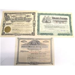 Goldfield & Tonopah Mining Stock Certificate Group