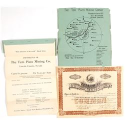 Tem Piute Mining & Milling Co. Stock Certificate and Prospectus