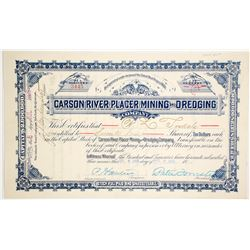 Carson River Placer Mining & Dredging Co. Stock Certificate
