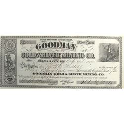 Goodman Gold & Silver Mining Co. Stock Certificate, Devil's Gate District