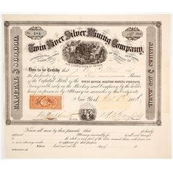 Twin River Silver Mining Co. Stock Certificate, Ophir Canon, Nye Co., 1866